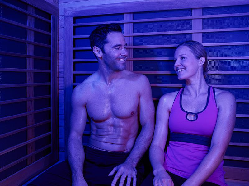 couple in infrared sauna